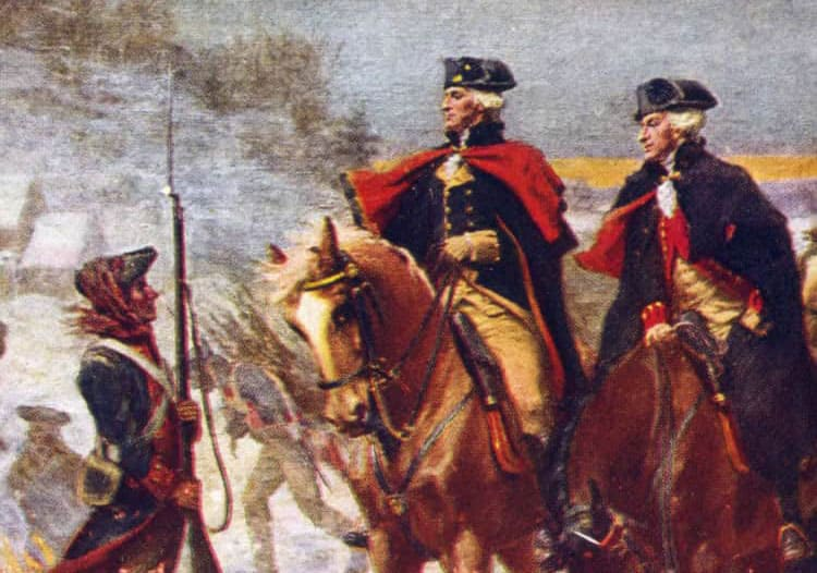 A historic painting depicting Washington and Lafayette on horseback at Valley Forge